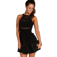 Black Illusion Skater Dress