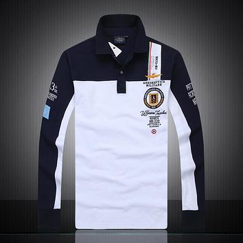 2018 Air Force One new air force one male splicing long sleeve polo shirt lapel net eyes to cotton long sleeve fine embroidery