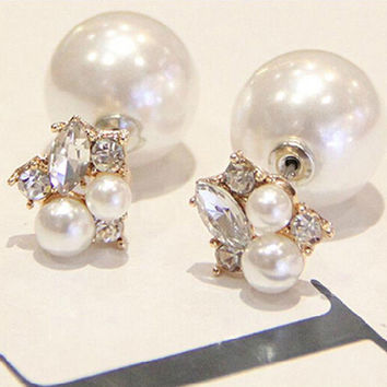 Brilliant quality Women's Double Sides Rhinestones Water Drop Elegant Faux Pearl Earrings 5D45