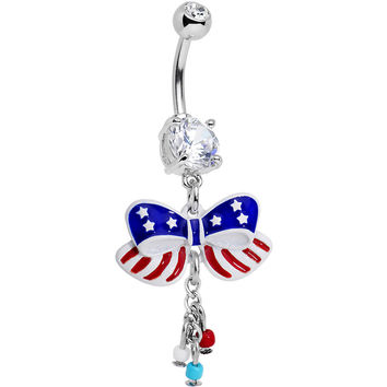 Clear Red Blue CZ Gem All American Flag Ribbon Dangle Belly Ring