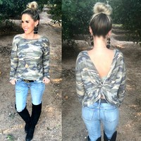 Stay True Twist Back Top: Camo