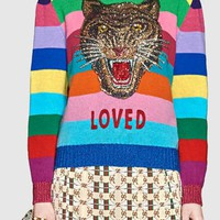 Polychrome Stripe Sequin Tiger Long Sleeve Knit Sweater