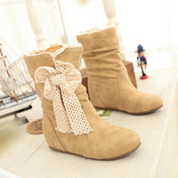 Soft Flock Ruched Bow Women Wedges Boots 1204