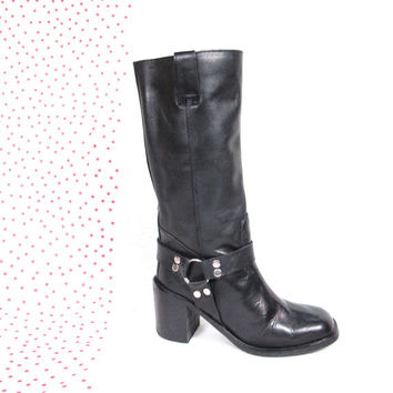 90s Black Leather Harness Boots Knee High Biker Boots Chunk Heel Boots Pull On Tall Riding Boots (6.5)