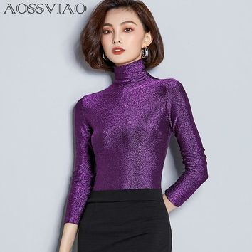 2018 New Turtleneck T Shirt Women Basic Knitted Lurex Tops Long Sleeve Women Casual T-shirt Femme Sheer Slim Ladies Sequin Top