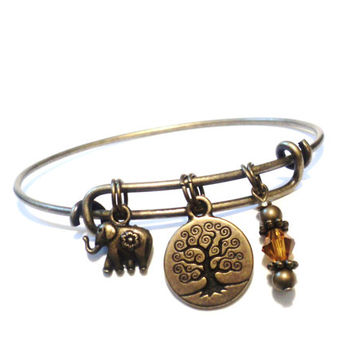 Tree of Life Bangle Bracelet Yoga Jewellery Amber Ganesha Charm Elephant Bohemian Bronze Adjustable Gift For Her Christmas Stocking Stuffer
