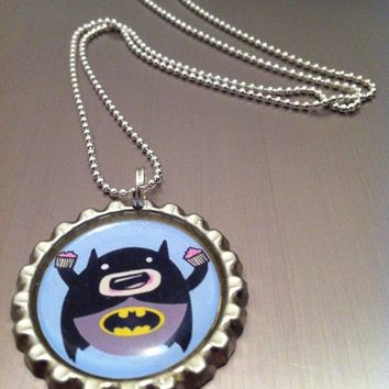 Cupcake eatin' Batman bottle cap necklace by anilineblack on Etsy
