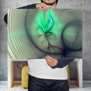 "Green Wall Art Print ""Fairy Nebula"" 7x10 - 10x15 - 12x18 - 15x22 , Abstract Poster 