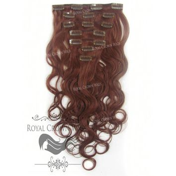 14 inch 7 Piece Body Wave Human Hair Weft Clip-In Extensions in #33