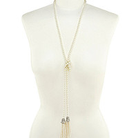 Belle Badgley Mischka Pearl Tassels Necklace - Silver/Pearl