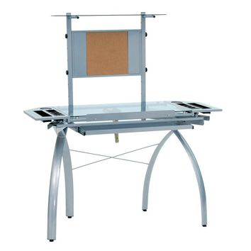 Offex Futura Tower Drafting Desk - Silver/Blue Glass