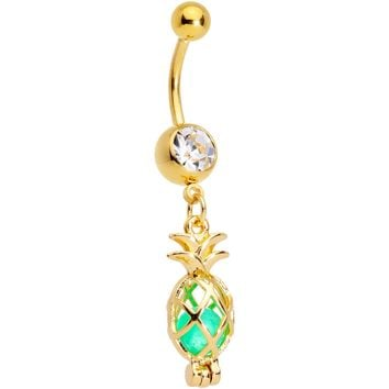 Clear Gem Gold Tone Glow in the Dark Pineapple Dangle Belly Ring