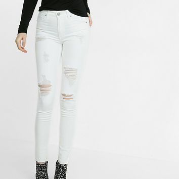 white high waisted distressed ankle jean legging