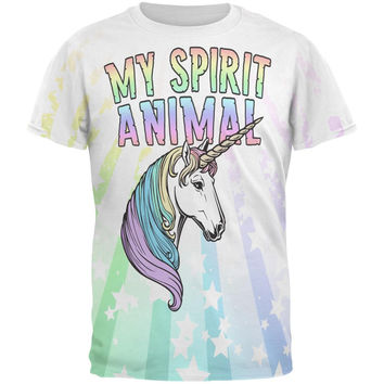 My Spirit Animal Unicorn Pastel Rainbow All Over Mens T Shirt