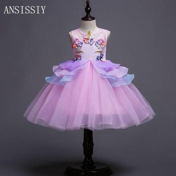 Fancy Kids Unicorn Dress for Girls Embroidery Mesh Flower Ball Gown Princess Dresses for Party Costumes Show Vestido Unicornio