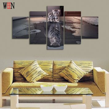 5 Piece Cat and Tiger Canvas Art Wall Pictures HD Printed For Living Room Modern Canvas Prints Artwork New Year Animals Painting