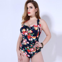 Floral one piece swimsuit plus size