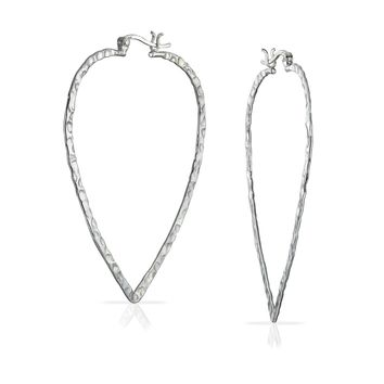 Hammered Triangle Leaf Flat Lightweight Hoop Earrings Sterling Silver