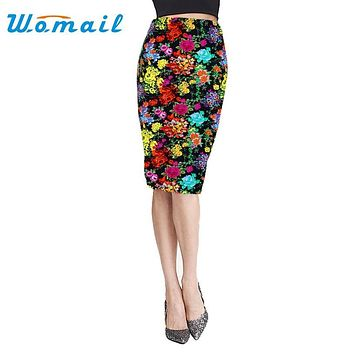 Womail Pencil Skirts Fashion Women Midi Knee-Length Elastic High Waist Floral Printing Skirt High quality Gift 1 pcs
