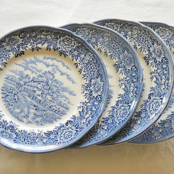 Old Staffordshire Salem Blue Transferware Bread and Butter Plates Set of 4, English Village, English Ironstone