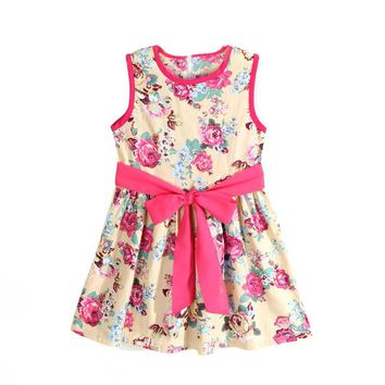 Girls Floral Flower Sleeveless Dress with Bow Knot Sizes 2T - 7
