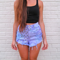 High Waist / Studded & Destroyed / Pink and Purple tye dye