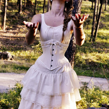 Vintage Style Victorian Wedding Dress with Corset  All Natural Cotton Handmade Just for you