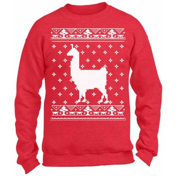Llama Christmas Sweatshirt. Funny Holiday Gifts. Ugly Christmas Sweater for Alpaca Lovers. Xmas Animal Ugly Sweater.