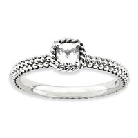 Sterling Silver Stackable Expressions Cushion April White Topaz Ring