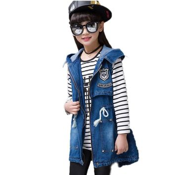 Trendy Hooded Girl Denim Vest 4-13Y Letter Printed Long Kid Cowboy Vest Waistcoat Sleeveless Jean Jacket Drawstring Children Outerwear AT_94_13