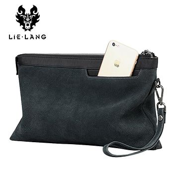 Leather Wallets Men Shoulder Bag Day Clutches Bags Cowhide Purse Fashion Casual Male Zipper Wallets