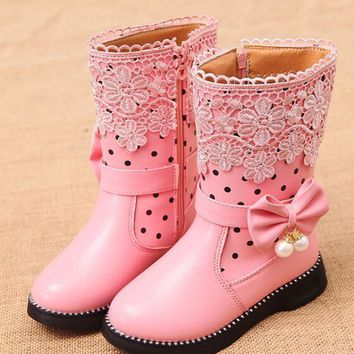 Winter children boots girls princess snow boots high help childrens shoes martin girls