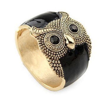 Owl Black Crystal Vintage Bangle - Sheinside.com