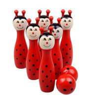 Wooden Animal Bowling Ball SET Game Baby Intellectual Toy Children 6 Pins 2 Ball   ants