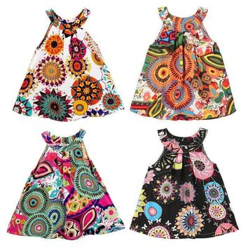 US 2-7Y Baby Kids Girls Summer Boho Floral Dress Sleeveless Party Pageant Dress