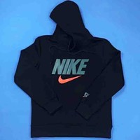 NIKE New fashion bust letter hook print thick keep warm hooded couple long sleeve sweater Black