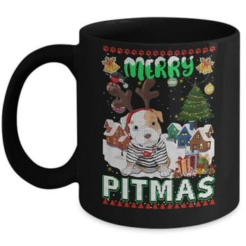 DCKIJ3 Cute Pitbull Christmas Merry Pigmas Ugly Sweater Christmas Mug
