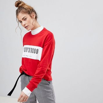 Pull&Bear My Own Boss Sweatshirt at asos.com