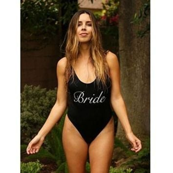 Bride Letter Print - Women's Sexy Sporty One-Piece Swimsuit - High-Cut, Novelty
