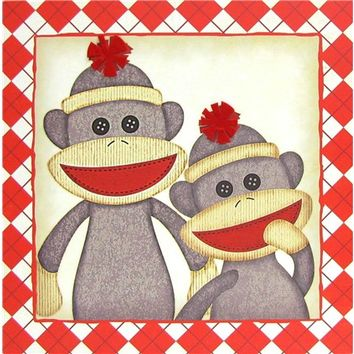Cream & Red Argyle Sock Monkey Canvas | Shop Hobby Lobby