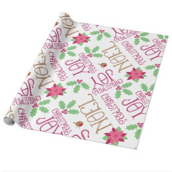 Pink Green Gold Christmas Word Art Wrapping Paper
