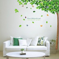 2017 New Fashion Green Tree Wall Stickers Waterproof Vinyl Removable DIY Room Home Decor Stickers V1NF