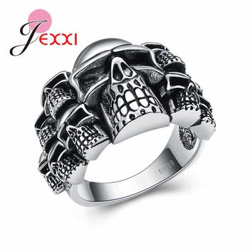 925 Sterling Silver Skull Ring for Men Women Punk Rock