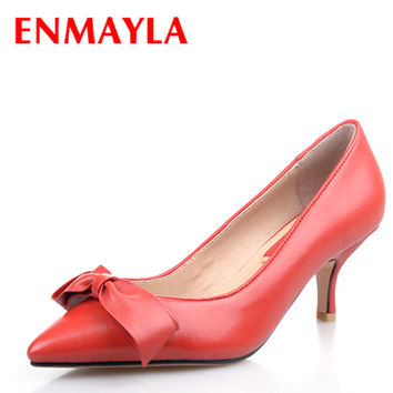 ENMAYLA Women Kitten Heels Bowknot Pumps Low Heels Shoes Woman P b2855ae56