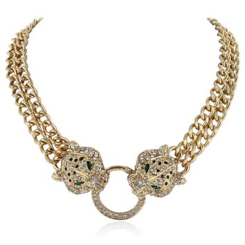 Bella Fashion Duel Clear Panther Leopard Choker Necklace Austrian Crystal Rhinestone Animal Necklace For Women Party Jewelry