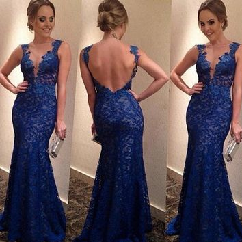 Women Sexy Sleeveless Deep V neck Backless Lace  Maxi Dress Formal Evening Party Cocktail Ball Gown Dress Royal Blue