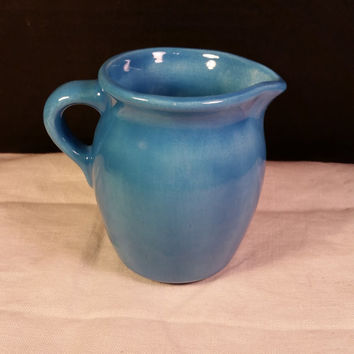 "Blue Ceramic Pottery Pitcher Small Milk Juice Solid Light Blue Pitcher with Handle and Spout Blue Pottery Short Pitcher 4"" Tall Pitcher"