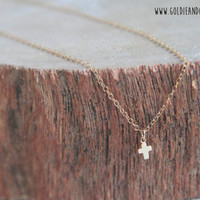16k Gold Filled Tiny Cross Necklace - 20 inch chain