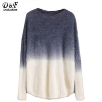 Dotfashion Pullover Women European Womens Sweaters Womens Sweater for Winter Autumn Ombre Drop Shoulder Fuzzy Sweater