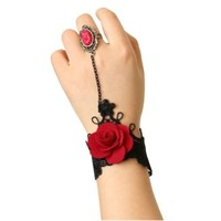 Autofor Handmade Craft Romantic Beautiful Retro Vintage Gothic Style Rose Lace Pattern Design Vampire Jewelry Wedding Decorations Classic Royal Hand Chain Wristband Bracelet With Ring Festivals Decoratioins Present For Costume Ball Fancy Ball Masquerade -